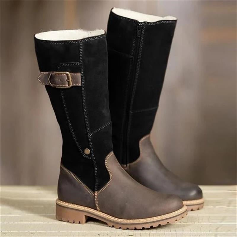 Classic Fashion Women Boots Plush Warm Knee High Luxury Snow Boots