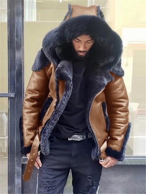 Mens Winter Hooded Luxury Fur Coat
