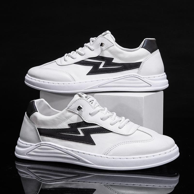 Lightning Pattern White Canvas Board Shoes For Men