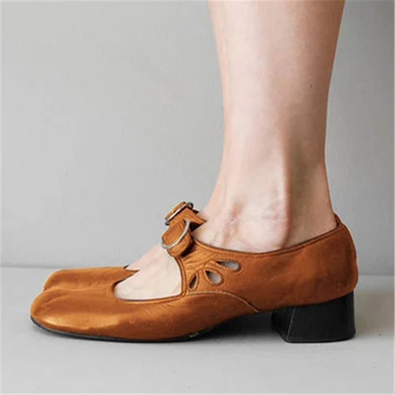 Vintage Comfy Wearable Buckle Round Toe Mary Jane Shoes