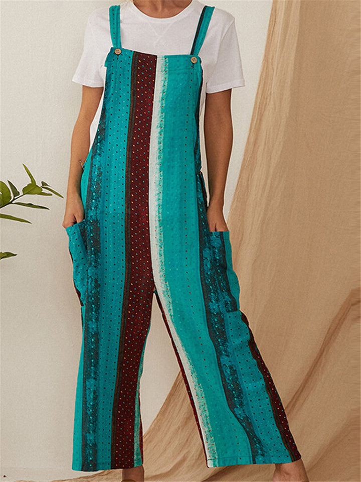 Casual Cotton Printed Wide Leg Jumpsuits