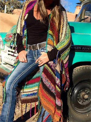 Bohemian Color Block Tassel Knitted Sweater Long Shawl Cardigan