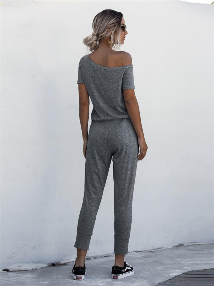 Summer New Short-sleeved Strapless Jumpsuit