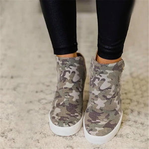 Camouflage Canvas Slip-on Casual Wedge Boots