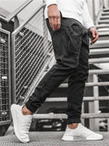 Mens Casual Multi-Pocket Skinny Cargo Pants
