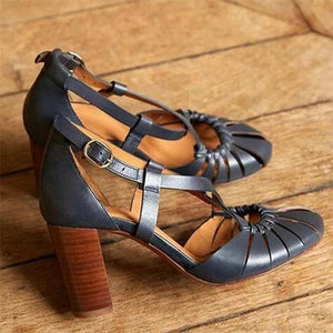 Retro Elegant Buckle Solid Color Chunky Heel Pumps Sandal