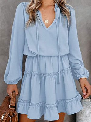 Loose Fit V Neck Long Sleeve Pleated Ruffled Pullover Flare Dress