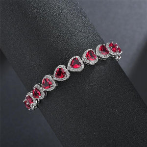Heart-Shaped Crystal Zircon Stone Bracelet