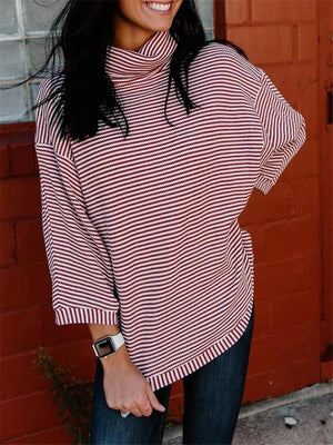 Loose Fit High Neck Striped Long Sleeve Pullover Sweatshirt