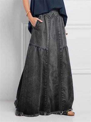Frayed Hem Elastic Waistband Pocket Long Denim Skirt