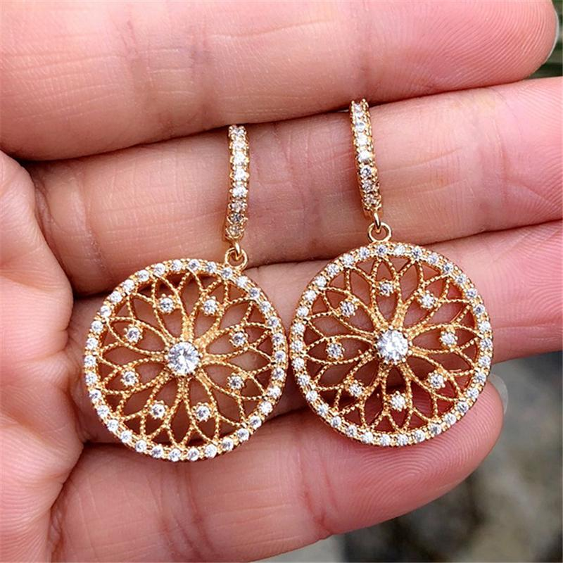 Gorgeous Champagne Zircon Flower Disc S925 Sterling Silver Stud Earrings