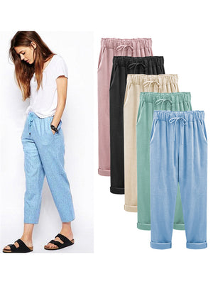 Comfy Elastic Waistband Lace Up Linen Pants