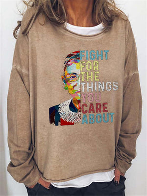 Notorious RBG Round Neck Long Sleeve Loose Fit Sweatshirt