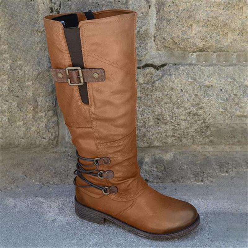 Women Casual Leather Buckle Mid Calf Combat Boots