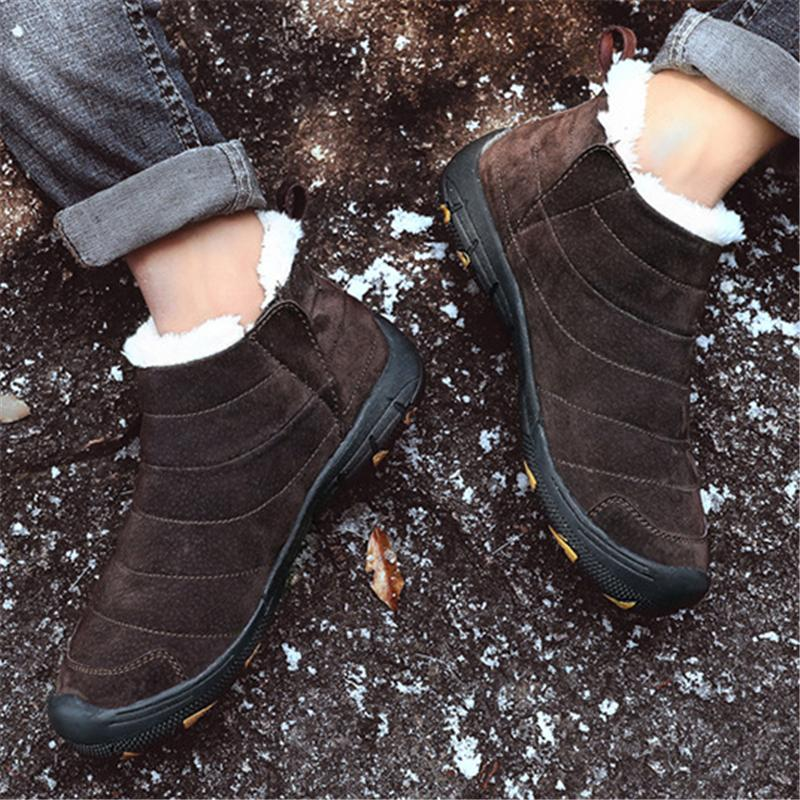 Mens Winter Warm Comfortable High-Top Plush Lined Hiking Shoes