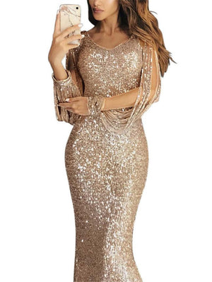 Gorgeous Sequined Mermaid Dress for Evening