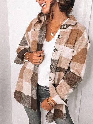 Regular Fit Lapel Collar Button Up Plaid Woolen Chest Pocket Coat