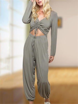 Casual Drawstring Front Long Sleeve Wide-Leg Harem Jumpsuit
