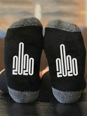 Trendy 2020 Middle Finger Graphic Cotton Crew Socks