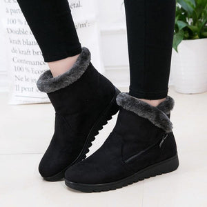 Winter Zipper Plush Solid Color Snow Boots