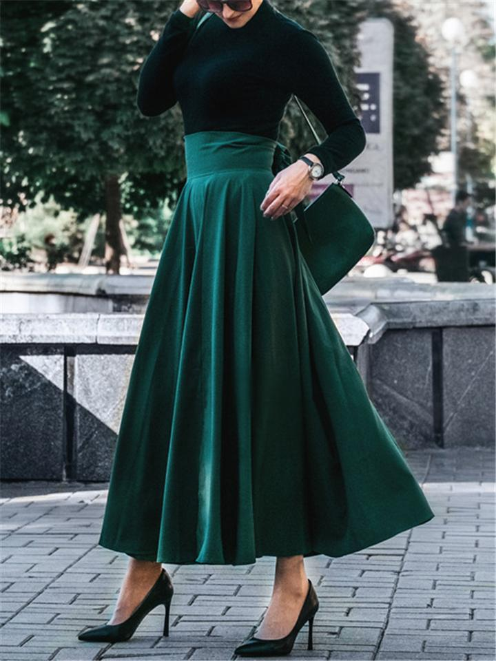 Fashion Elegant Bowknot Pleated A-Line Skirt