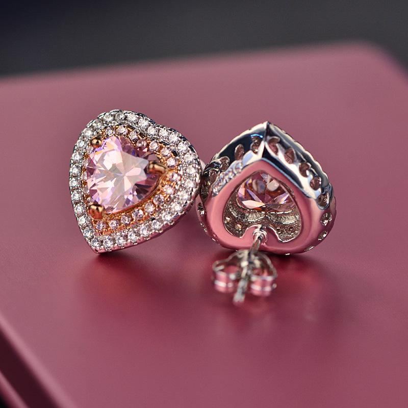 Beautiful Pink Crystal Heart Earring Studs For Women