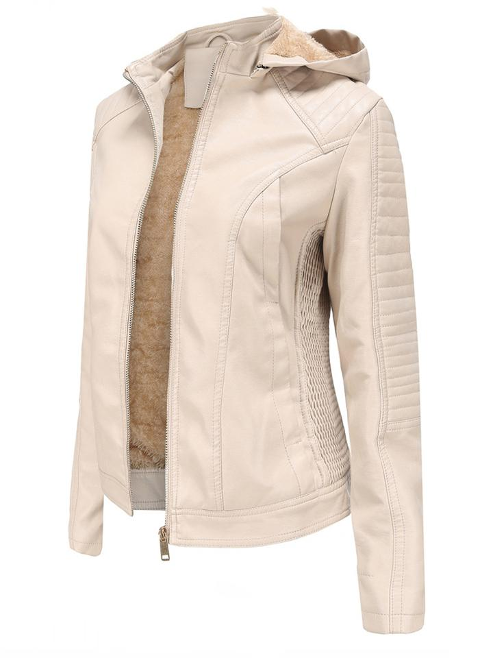 Ultra Warm Side Pocket Fur Interior Faux Leather Jacket with Removable Hood