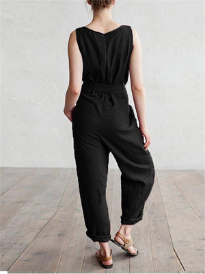 Relaxed Fit Scoop Neck Solid Color Waist Tie Sleeveless Overalls Jumpsuit