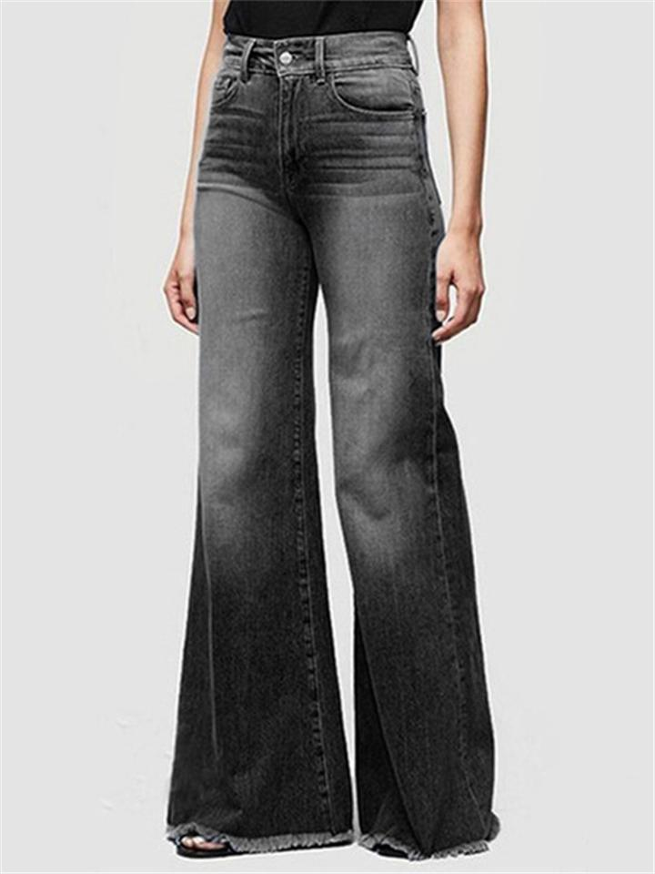 Trendy Frayed Hem Washed Effect Wide Leg Denim Pants