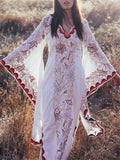 Bohemian Floral Print Batwing Sleeve Dress