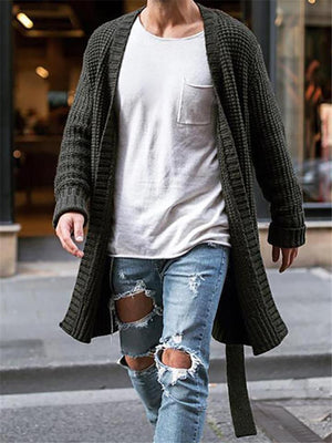 Men Casual Fashion Open Front Knitted Cardigan
