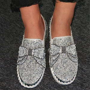 Fashion Thick-Sole Shining Rhinestone Bowknot Deco Slip-On Loafers