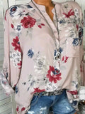 Women's Beautiful Floral Printed Long Sleeve V neck Blouses