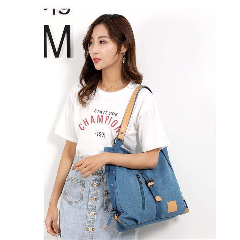 Women's Fashion Canvas Handbag Vintage Multifunction Backpack
