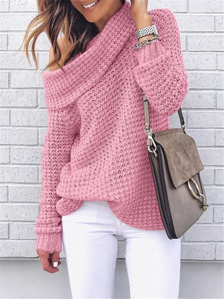 Loose Fit Cowl Neck Solid Color Ribbed Knit Sweaters