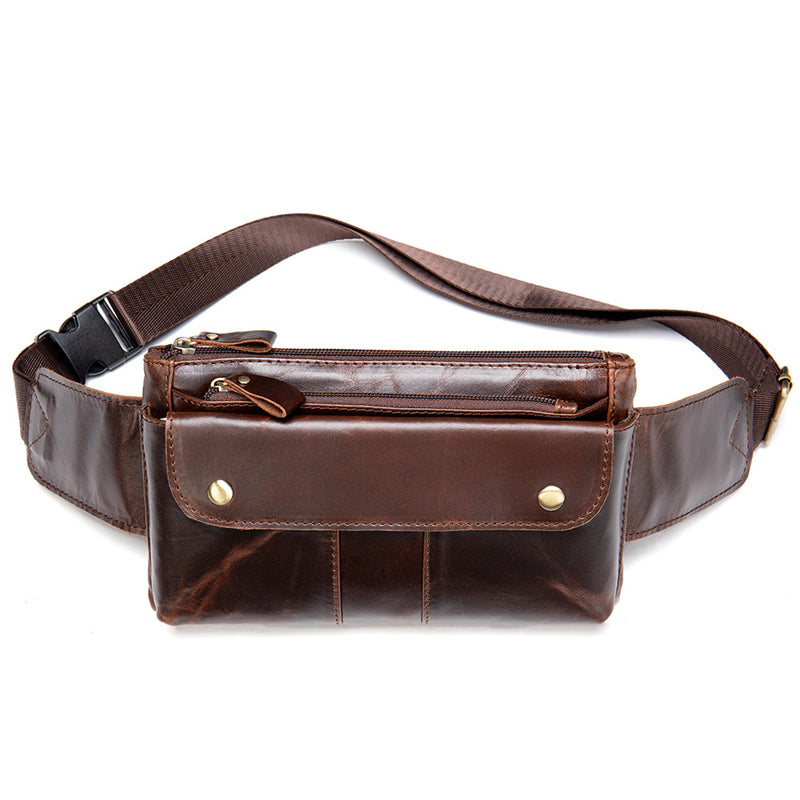 Casual Vintage Genuine Leather Waist Bags Crossbody Bags For Male and Female