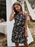 Floral Print Sleeveless Casual Slip Dress