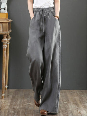 Loose Fit Elastic Waist Solid Color Linen Trousers