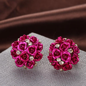 Super Cute Rose Flower Balls Earring Studs For Women (Buy 3pcs Get 4th Free, Code: FREE04)