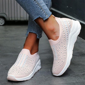 Rhinestone Breathable Comfy Mesh Flat Casual Shoes For Female