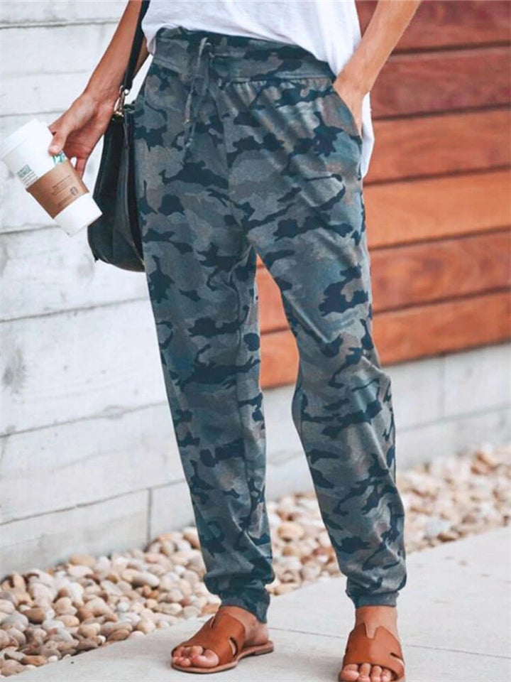 Casual Camouflage Printed Drawstring Pants For Women