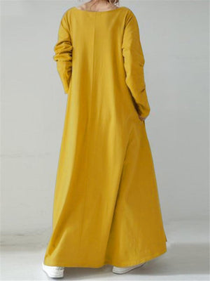 Casual Fit V Neck Solid Color Long Sleeve Pocket Maxi Dress