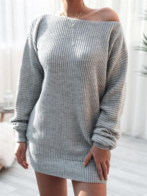 Casual Style Round Neck Long Sleeve Ribbed Knit Sweater Dress