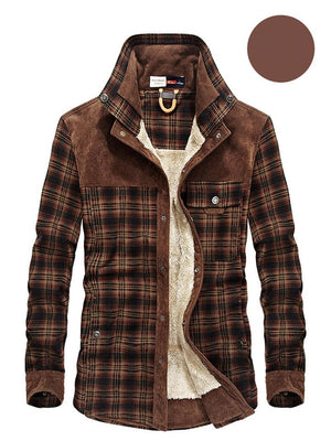 Men's Classic Vintage Plaid Corduroy Stand Collar Button Warm Outerwear Jacket