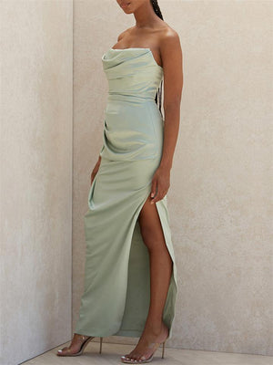Mint Green Satin Strapless Ruched Evening Dresses