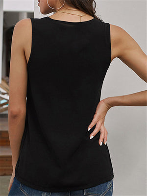 Casual Solid Color Sleeveless Zipper V-neck Tank Top For Women