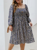 Plus Size 1950S Floral Printed Long Sleeve Dress