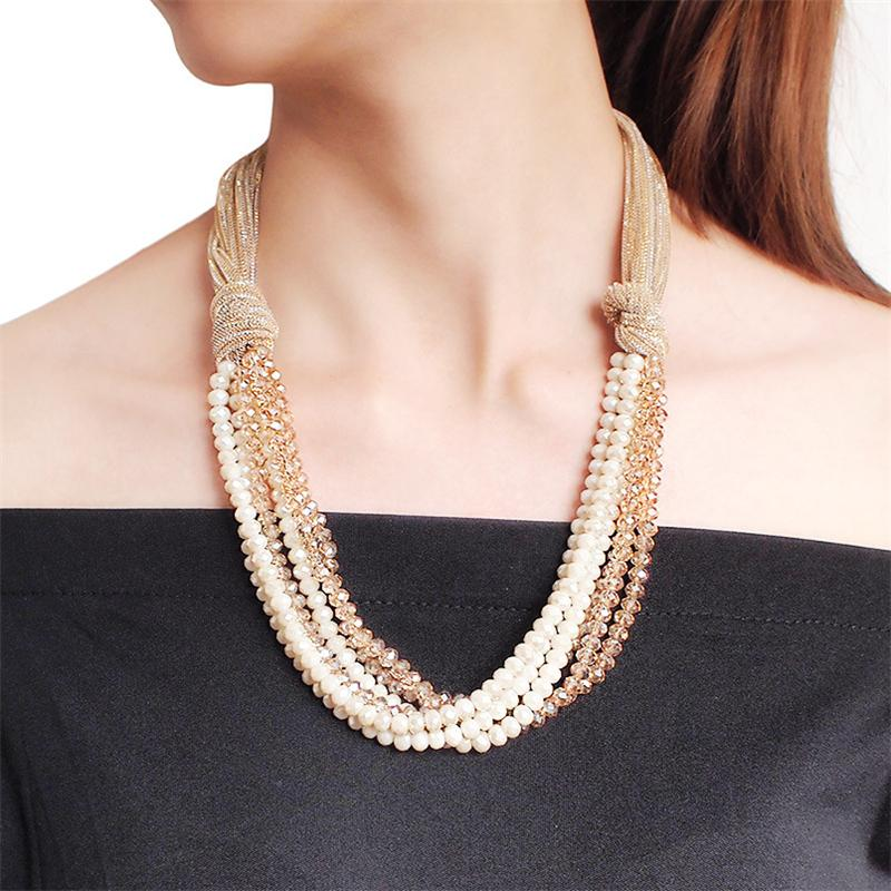 Pretty Multilayer Crystal Chunky Necklace