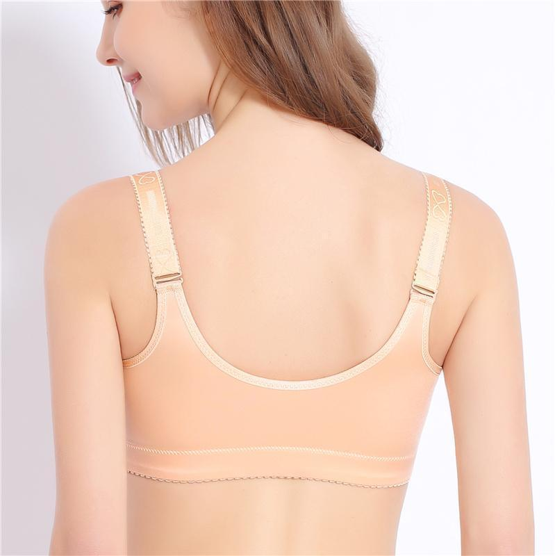 Women's Super Comfy Wireless Front Button Closure Soft Bras - Nudes