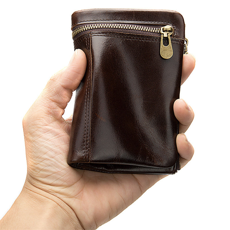 Men's Retro Soft Cowhide Leather Coin Purse Short Wallet